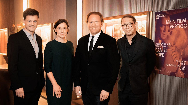 Benjamin Herrmann, Anne Leppin, Daniel Hope, Claudius Seidl · © Florian Liedel / Deutsche Filmakademie